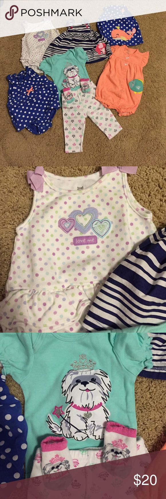 3 Month Baby Girl Summer Bundle Bundle includes six baby girl outfits: three one pieces (one blue with white polka dots, one white with lavender, blue, and green polka dots, and one orange with white polka dots and a green fish), two sleeveless tops (one navy with white stripes and a pink elephant and one blue with white polka dots and an orange whale), and one matching set (mint green onesie with a dog on it with matching pants and socks). Matching Sets