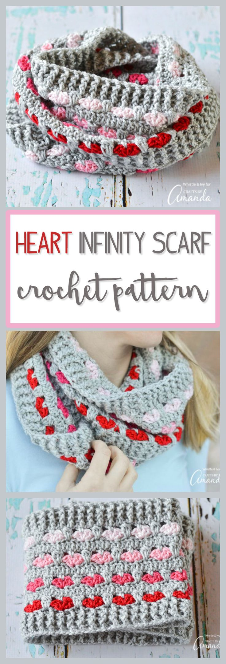 Use this infinity scarf crochet pattern to make the perfect heart themed cozy neck wrap. This will be great for Valentine's Day!