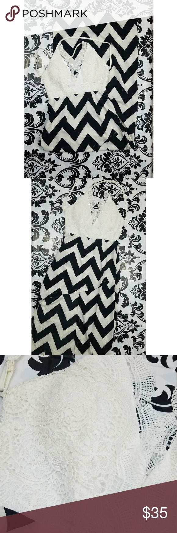 Maxi dress Womens fashion mia maxi dress A symmetrical cut on the front  Black and white striped  Lace top Women's Size medium  BRAND NEW WITH tags Dresses Maxi