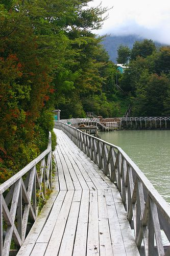 """""""Caleta Tortel is built almost entirely on boardwalks at the base of the mountain around a series of small bays. The sea is visible through the planks beneath your feet, and the boardwalks extend for kilometres."""" Chile: the Carretera Austral; www.bradtguides.com/schile"""