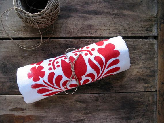 SECONDS SALE Scandinavian Tea Towel Floursack Kitchen Dishtowel Red Birds Blossoms Screenprint