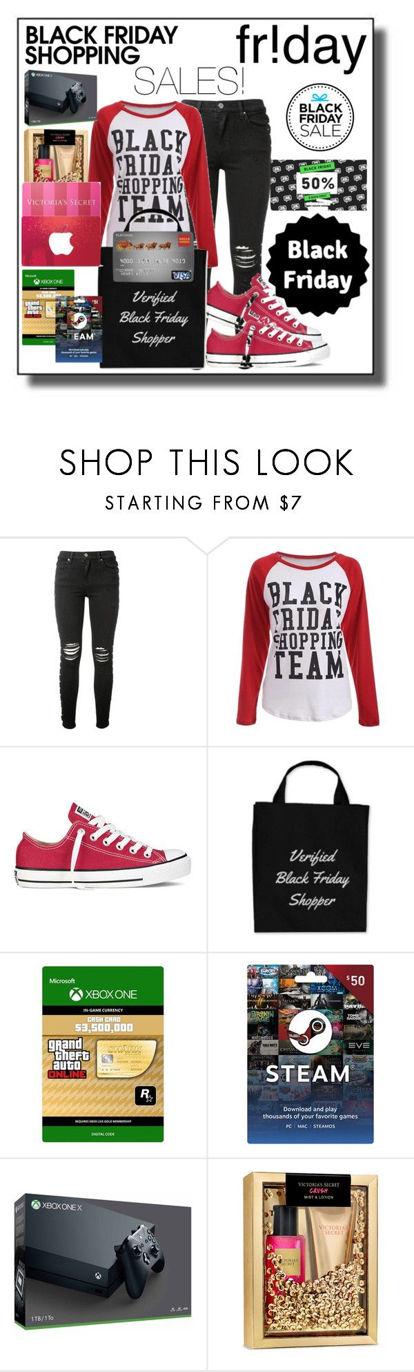 """IT'S BLACK FRIDAY COMING"" by lebanese-qv33nv ❤ liked on Polyvore featuring AMIRI, Converse, Topshop and Victoria's Secret"