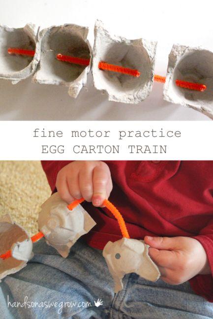Perfect for fine motor practice - make an egg carton train!