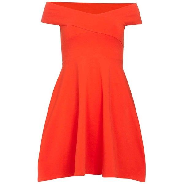 Dorothy Perkins Red bardot dress ($29) ❤ liked on Polyvore featuring dresses, red, red jersey, cap sleeve dress, dorothy perkins, cotton dresses and jersey dress