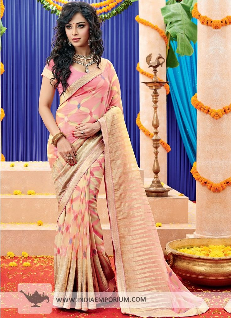#Pink Ornate Brasso #Saree