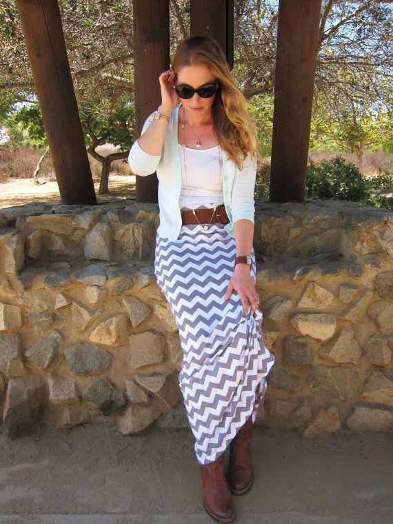 Maxi Skirt, Gray & White Chevron, Women's XS-XL, Petite, Average, Tall Length on Etsy, $34.00