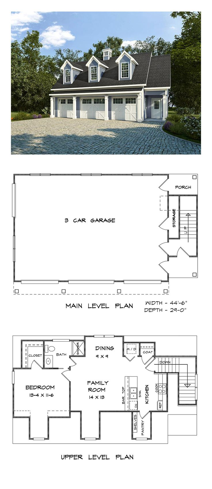 Garage Apartment Plan 58248 | Total Living Area: 1812 sq. ft., 1 bedroom and one 3/4 bathroom. #carriagehouse