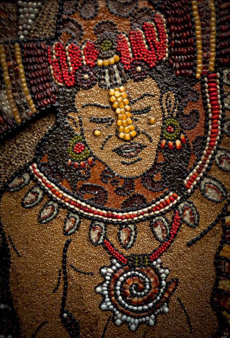 Mosaic, Mayan warrior, Tepoztlan, Mexico