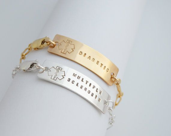 Delox Medical ID Bracelet  Personalized  MS  by ThoughtBlossoms
