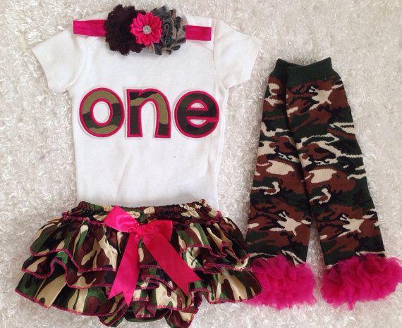 Camo Princess/Camo Birthday/First Birthday/HotPink by BabyTrendzz