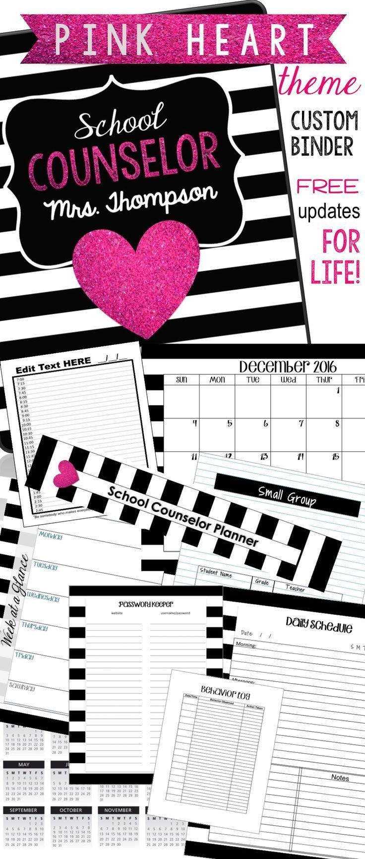This ultimate counselor planner includes everything you need to stay organized and in style for 2016-2017!  Multiple designs... growing bundle.  Editable!  Updates for Life. Download every year for a new calendar.