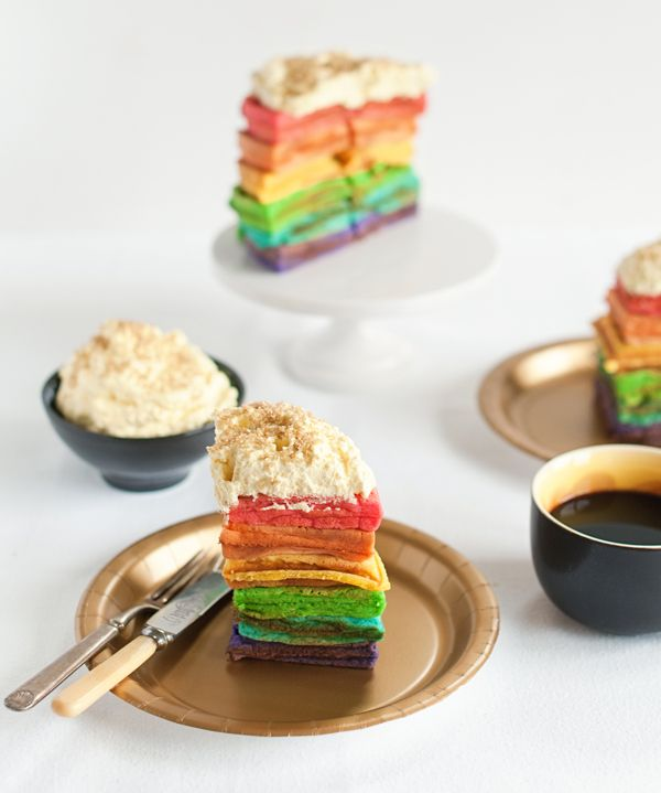 Rainbow waffles with pot-of-gold whip cream | A Subtle Revelry