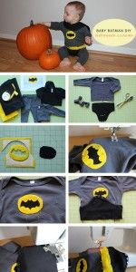 A great idea for an easy DIY baby costume. Featuring Vintage Adam West Baby Batman colors.
