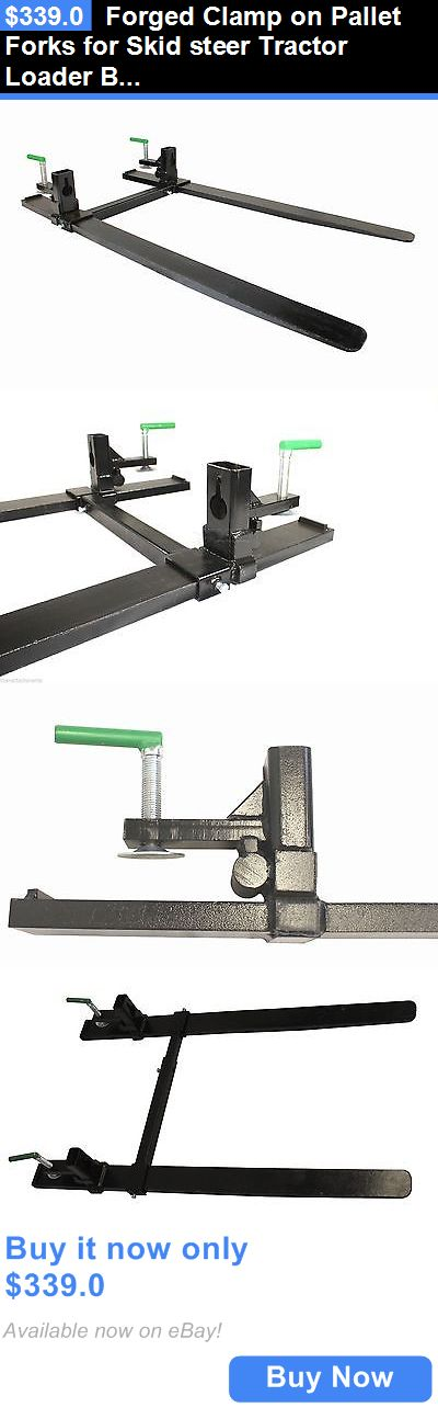 heavy equipment: Forged Clamp On Pallet Forks For Skid Steer Tractor Loader Bucket (Cof-Hd-Sb) BUY IT NOW ONLY: $339.0