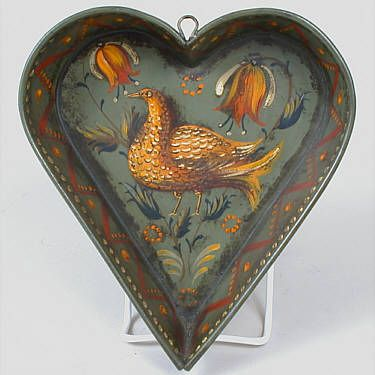 PETER OMPIR HEART-SHAPED PAN WITH BIRD (SIGNED)