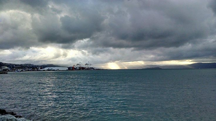 Look at that sun peeking through the clouds on the waterfront!