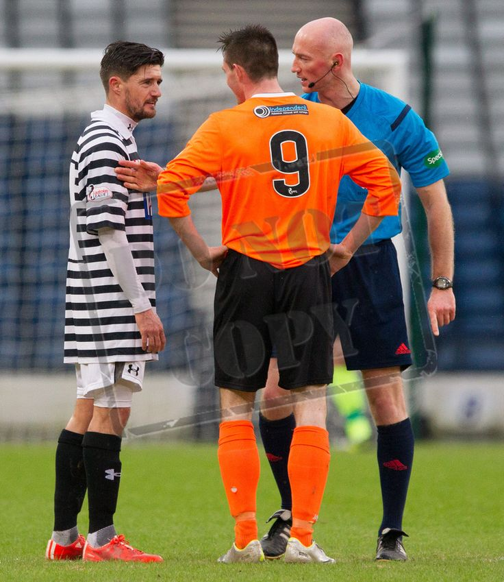 Queen's Park's Paul Woods and East Stirlingshire's Thomas Orr need a quiet word during the SPFL League Two game between Queen's Park and Elgin City.