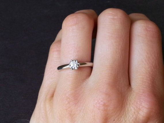 Solitaire Round Diamond Engagement Ring 9 Carat White by ArahJames