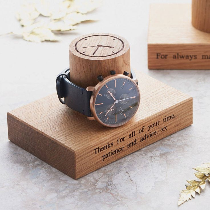 A contemporary and beautifully hand crafted solid oak Gent's Single Watch Stand, designed to display a treasured watch in true unique and timeless style.OTHER SIZES: You can upgrade to a double watch stand here or please see our original 'Watch Stand' for 3, 4 & 5 column options and for our great reviews and feedback for this family of products. PERSONALISATION: Add our standard engravings 'Time is precious', 'Dad time…the best time!', 'Watch this space...' or 'For always ma...