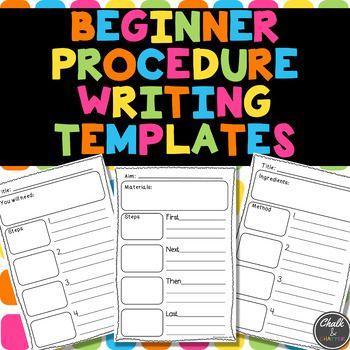 Beginner Procedure Writing Templates by Chalk and Chatter   Teachers Pay Teachers