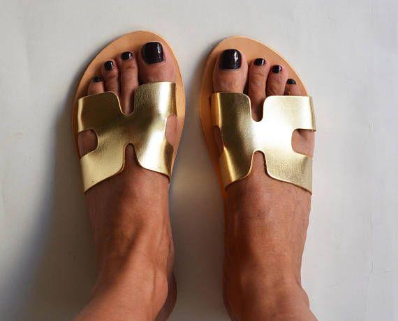 Metallic Gold Leather Slide Sandals Gold Slip on Sandals