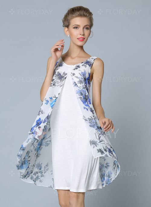 Vestidos - $48.48 - Chifón Floral Sin mangas Sobre las rodillas De época Vestidos (1955103527)