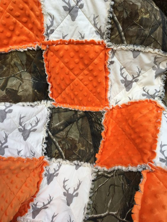 Baby Boy Quilt, Buck Quilt, white background, Realtree Camo Rag Quilt  Blanket, Buck Rag Quilt, Crib Blanket, camo quilt, camo baby bedding