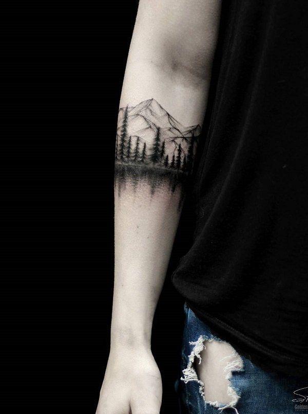 Mountain Armband Tattoo : mountain, armband, tattoo, Landscape, Tattoo, Ideas, Cuded, Tattoo,, Tattoos,, Tattoos