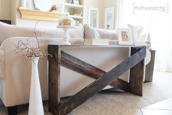 $20 DIY Sofa Table | Thrifty and Chic featured on Remodelaholic.com #buildingplan #tutorial #sofatable @Remodelaholic .com