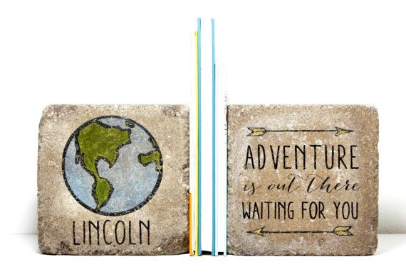 Personalized Rustic Bookends- Child Bookends/ Adventure is out there waiting for you/ 6x6 pavers/ Keepsake Gift/