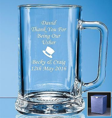 #Personalised #engraved beer glass #tankard wedding gifts usher gift boxed,  View more on the LINK: 	http://www.zeppy.io/product/gb/2/121113836710/
