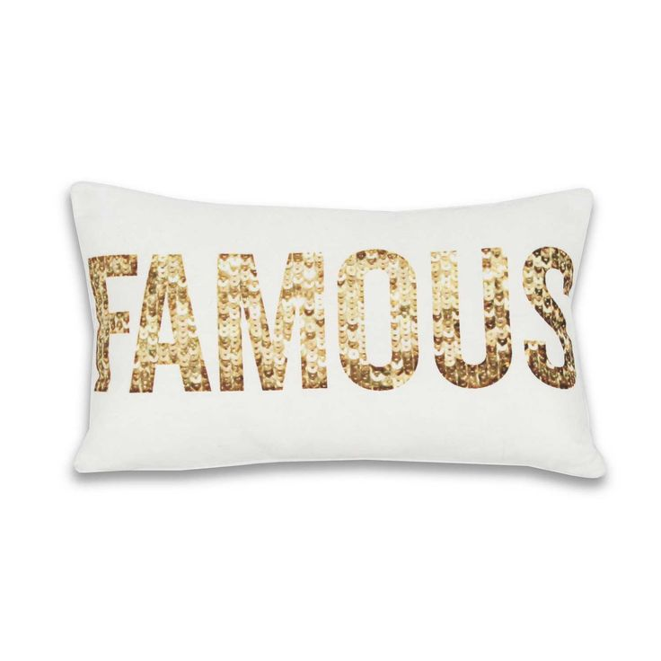 Shimmering sequin 'famous' pillow