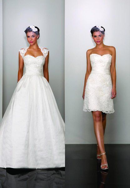This is cool. You can remove the bottom so it can be a mini gown. I would definitely suggest this kind of dress if someone wanted to dance a lot at their reception without snagging the bottom. I  think its pretty and awesome!