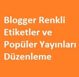 Blogger Renkli Etiketler ve Popüler Yayınları Düzenleme