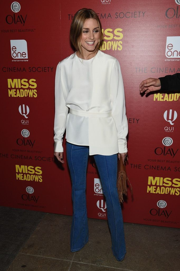 Olivia Palermo..  white blouse, Reiss jeans, and CH Carolina Herrera purse..... - Celebrity Fashion Trends