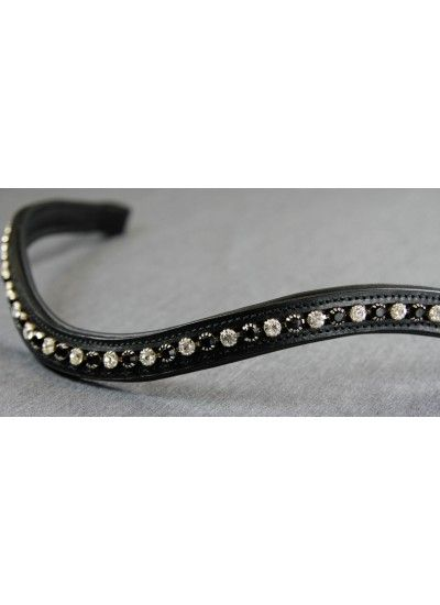 Rolled Black & Clear Swarovski Crystal Wave English Leather Flexi-Fit Gel Padded Browband - Black $99.95