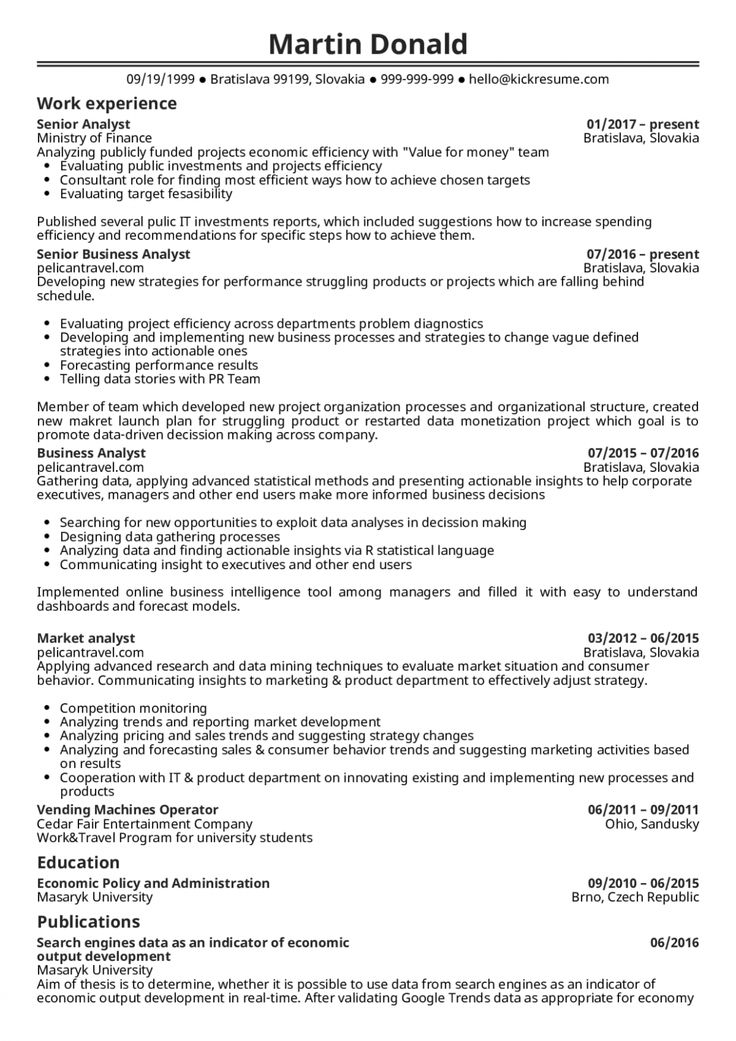 15 It Business Analyst Resume di 2020