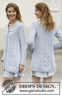 "Knitted DROPS jacket with lace pattern, cables and collar in ""Paris"". Size: S - XXXL. ~ DROPS Design"