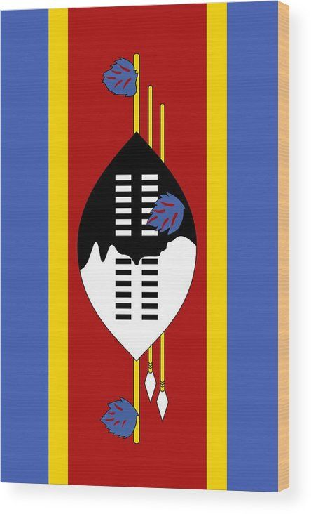 Southern Africa Wood Print featuring the mixed media Swaziland Flag 2 by Otis Porritt