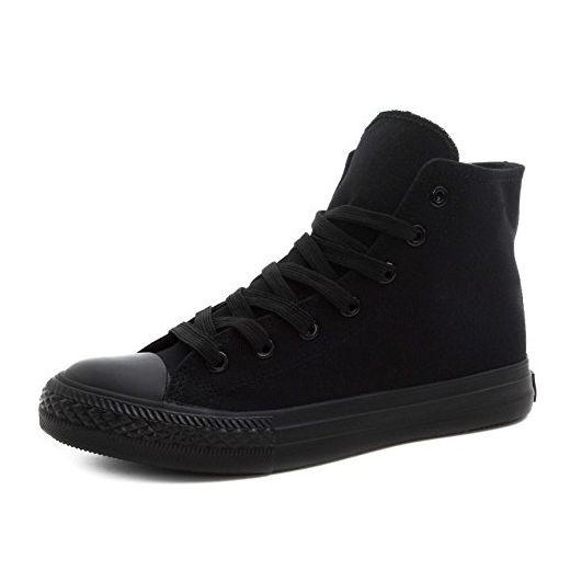 Klassische Unisex Damen Herren Schuhe Low High Top Sneaker Turnschuhe Schwarz 41 - Sneakers für frauen (*Partner-Link)