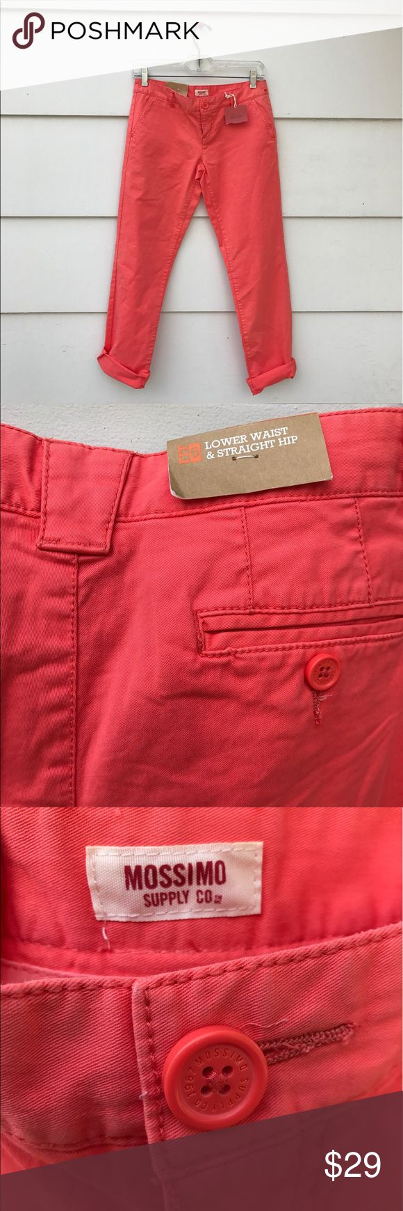 """Mossimo Supply Co Women's Orange Skinny Jeans Lovely Mossimo Supply Co women's orange skinny jeans lower waist straight hip Size 5 New with Tag. Materials. 98% cotton 2% spandex. Measurements. waist 28"""" hip 30"""" inseam 30 overall length 37"""" Mossimo Supply Co Jeans Skinny"""