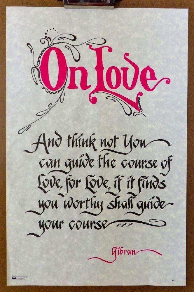 Vintage On Love Quote Kahlil Gibran Opaque Parchment/Vellum Poster Print Poem