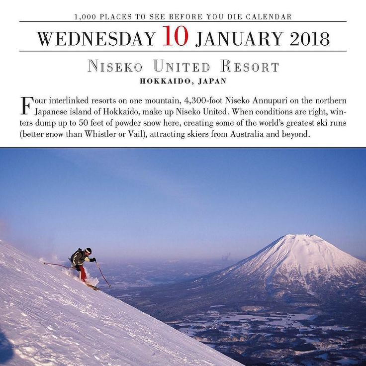 Niseko United Resort HOKKAIDO JAPAN Four interlinked resorts on one mountain 4300-foot Niseko Annupuri on the northern Japanese island of Hokkaido make up Niseko United. When conditions are right winters dump up to 50 feet of powder snow here creating some of the worlds greatest ski runs (better snow than Whistler or Vail) attracting skiers from Australia and beyond. 1000 Places to See Before You Die 2018 #travel #1000Places #InstaTravel #Wanderlust #TravelGram #BestoftheDay #Instagood…