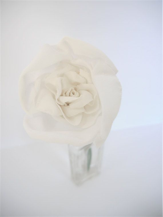 Fabric Rose Fabric Flower in Off-white Wedding by HeirloomandOak