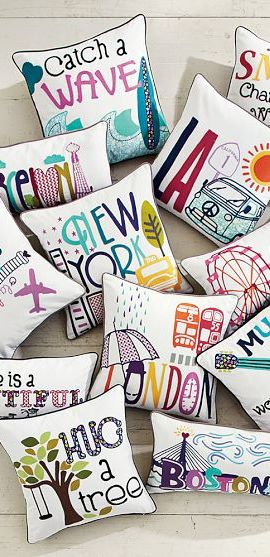 Love these destination pillows - perfect for anyone who loves to travel!  http://rstyle.me/n/df2qnnyg6