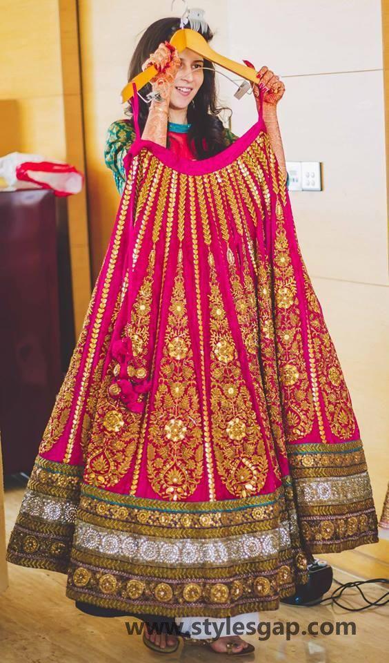 sabyasachi beautiful gold work pink lehenga for weddings