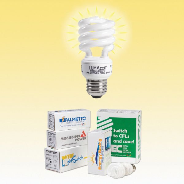 """Personalize a full color, 4 sided digitally printed sleeve to fit snugly around the box of a 13 watt compact fluorescent lightbulb (CFL). The included 13w CFL is a high quality ENERGY STAR 4.0 rated lightbulb equivalent to a standard incandescent 60 Watt lightbulb and has a 12,000 hour average rated life. Print area: 4 sided sleeve is 4.4375""""L x 1.875""""W"""