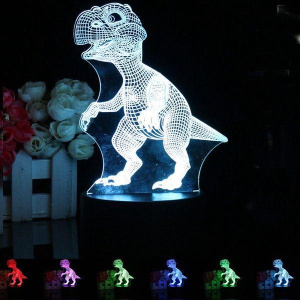 3D LED Remote Control Dinosaur Night Light 7 Color Change Desk Table Lamp Gift Sale - Banggood.com