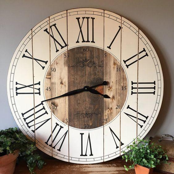 32 Inch Farmhouse Clock Rustic Wall Clock Large Wall