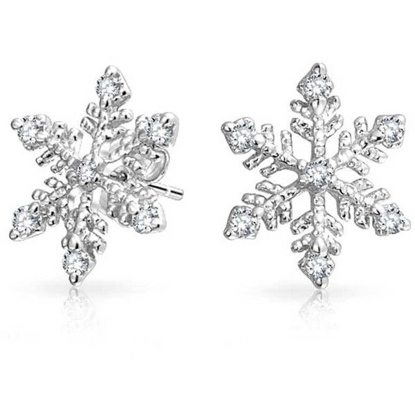 Bling Jewelry Ice Queen Studs ($27) ❤ liked on Polyvore featuring jewelry, earrings, accessories, clear, stud-earrings, studded jewelry, clear earrings, snowflake stud earrings, christmas earrings and snowflake jewelry